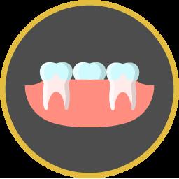 Vollkeramik Zahn zwischen zwei echten Zähnen Icon