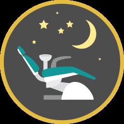 Zahnarztstuhl unter Nachthimmel mit Sternen Icon